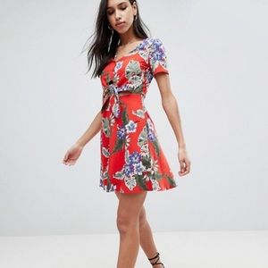 ASOS Skater Sundress Button Front Tie Knot Dress
